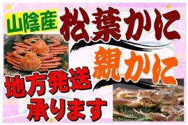 鳥取の冬の名物松葉ガニ・親かにの地方発送を受け付けています。